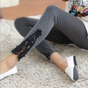 Pants - Versatile and sexy Leggings & lace gray w black